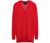 Bead-embellished Merino Wool, Silk And Cashmere-blend Cardigan Red