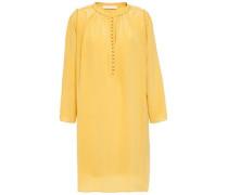 Woman Lyan Picot-trimmed Silk Crepe De Chine Mini Dress Mustard
