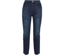 Cropped High-rise Straight-leg Pants Dark Denim  4