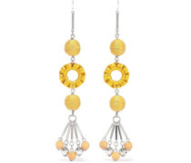 Silver-tone, Bead And Cord Earrings Yellow Size --