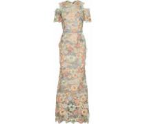 Cold-shoulder metallic floral-appliquéd guipure lace gown