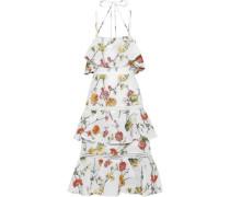 Tiered Matelassé Floral-jacquard Midi Dress White