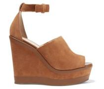 Morlen leather-trimmed suede wedge sandals