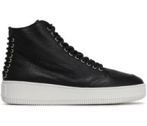 Netil Lace-up Textured-leather High-top Sneakers Black