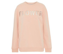 Embroidered Corded Lace-paneled Cotton-terry Sweatshirt Blush
