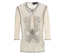 Embellished tulle and lace top