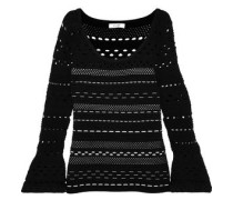 Fluted Open-knit Top Black
