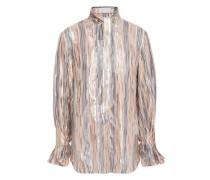 Woman Tie-neck Metallic Striped Silk-blend Chiffon Blouse Silver