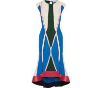 Asymmetric satin-trimmed color-block stretch-knit midi dress