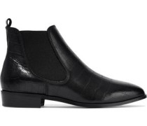 Odelle Glossed Croc-effect Leather Ankle Boots Black