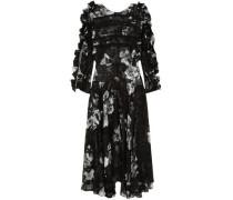 Ermin Devoré Silk-satin Midi Dress Black