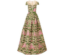 Embroidered Tulle And Brocade Gown Green