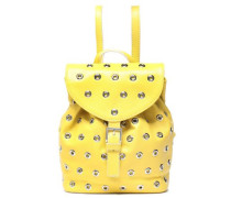 Eyelet-embellished Leather Backpack Pastel Yellow Size --