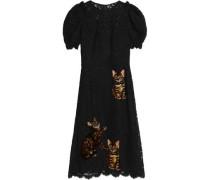 Appliquéd corded lace midi dress