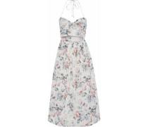 Jasper cutout floral-print cotton-voile halterneck midi dress