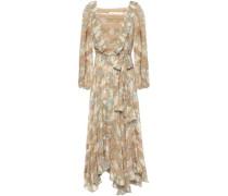 Woman Asymmetric Belted Floral-print Silk-chiffon Midi Dress Sage Green