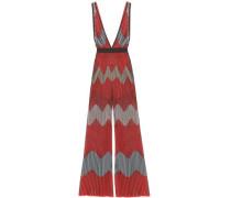 Ribbed Metallic Intarsia-knit Jumpsuit Coral