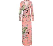 New Julian Floral-print Silk-jersey Maxi Wrap Dress Pink
