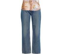 Floral Print-paneled High-rise Straight-leg Jeans Light Denim