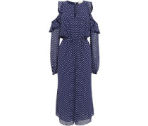 Polka-dot Cropped Cold-shoulder Georgette Jumpsuit Navy