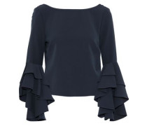 Annie Ruffled Crepe Blouse Midnight Blue