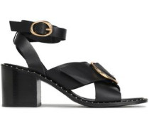 Buckle-embellished Leather Sandals Black