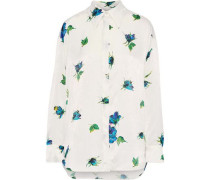 Floral-print Textured-satin Shirt White