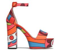 Printed leather platform sandals