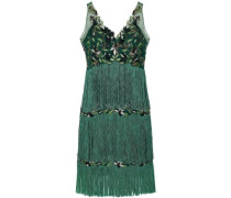 Tiered Fringed Embellished Tulle Dress Emerald