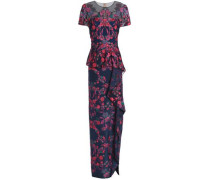 Embroidered tulle peplum maxi dress