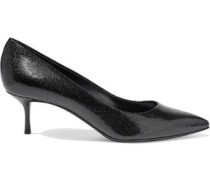Mystica Glossed Textured-leather Pumps Black