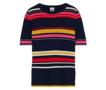 Bella Striped Ribbed Wool-blend Top Midnight Blue