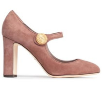 Button-embellished Suede Mary Jane Pumps Antique Rose