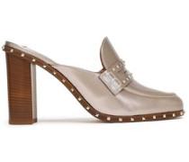 Woman Studded Metallic-leather Mules Platinum