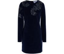 Embellished embroidered cotton-blend velvet mini dress
