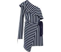 One-shoulder striped cotton-jersey wrap mini dress