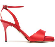 Silk-satin And Suede Sandals Red