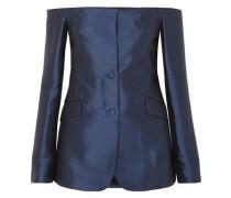 Dorothea Off-the-shoulder Silk And Wool-blend Blazer Navy