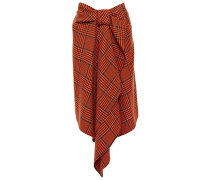 Draped Prince Of Wales Checked Wool-blend Skirt