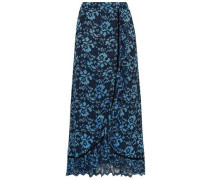 Flynn Ruffled Velvet-trimmed Lace Maxi Skirt Midnight Blue