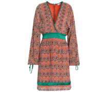 Wrap-effect Printed Silk  Crepe De Chine Dress Orange