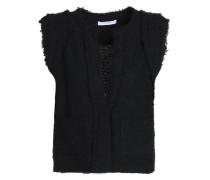 Frayed cotton-blend tweed vest
