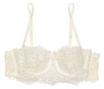 Guipure lace-appliquéd tulle and stretch-jersey underwired bra