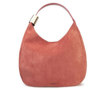 Woman Stevie Elaphe-trimmed Suede Shoulder Bag Pink
