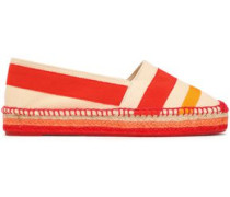 Kati Grosgrain And Canvas-paneled Espadrilles Tomato Red