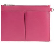 Panama Textured-leather Pouch Fuchsia Size --