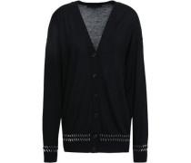 Embellished Merino Wool And Silk-blend Cardigan Black