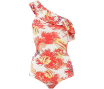 Ruffled Printed One-shoulder Swimsuit Coral