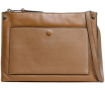 Bianca Smooth And Textured-leather Shoulder Bag Brown Size --