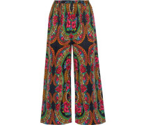 Pavoloski Printed Brushed Cotton-blend Twill Wide-leg Pants Black